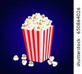 carton bowl full of popcorn and ... | Shutterstock .eps vector #650864026