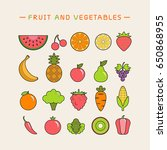 fruits and vegetables icons set. | Shutterstock .eps vector #650868955