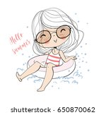cute girl swim. summer vacation ... | Shutterstock .eps vector #650870062