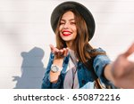 smiling attractive stylish girl ... | Shutterstock . vector #650872216