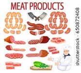 vector meat products and chef... | Shutterstock .eps vector #650872408