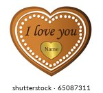 gingerbread hearts  i love you... | Shutterstock .eps vector #65087311