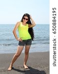 long black hair beauty posing... | Shutterstock . vector #650884195