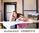 a young beautiful girl is...   Shutterstock . vector #650889376
