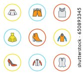 garment colorful outline icons... | Shutterstock .eps vector #650893345