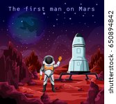 astronaut in spacesuit or first ... | Shutterstock .eps vector #650894842