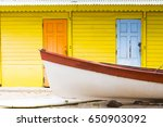 Colored Wood House On Beach...