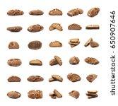 set of multiple brown bread... | Shutterstock . vector #650907646