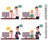 boss managing employee working... | Shutterstock .eps vector #650908822