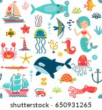 seamless pattern with the sea. | Shutterstock .eps vector #650931265