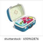 open suitcase with clothes for... | Shutterstock .eps vector #650962876