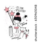 cutie girl illustration with... | Shutterstock .eps vector #650965048