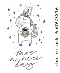 unicorn and coffee  good... | Shutterstock .eps vector #650976316