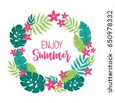 summer wreath with tropical... | Shutterstock .eps vector #650978332