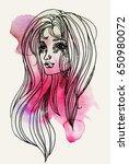 watercolor graphic illustration ... | Shutterstock . vector #650980072