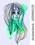 watercolor graphic illustration ... | Shutterstock . vector #650980135