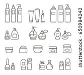 cosmetic bottles  thin... | Shutterstock .eps vector #650984242