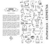 hand drawn doodle bathroom... | Shutterstock .eps vector #650985766