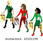 Vector Illustration of three women Christmas shopping with bags dressed fashionably. - stock vector