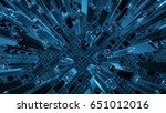 abstract 3d city rendering with ... | Shutterstock . vector #651012016