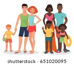 white and african black cartoon ... | Shutterstock .eps vector #651020095