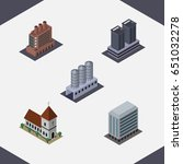 isometric architecture set of... | Shutterstock .eps vector #651032278