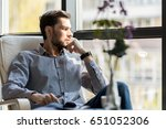 pleasant bearded man resting... | Shutterstock . vector #651052306