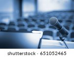 rostrum with microphone and... | Shutterstock . vector #651052465