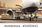 loading cargo on the plane in... | Shutterstock . vector #651052612