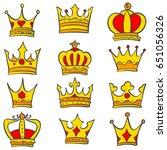 set of glamour crown doodle | Shutterstock .eps vector #651056326