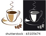 set of cups of black coffee.... | Shutterstock .eps vector #65105674