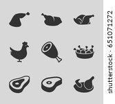 roast icons set. set of 9 roast ... | Shutterstock .eps vector #651071272
