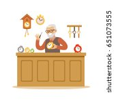 bearded senior man repairing... | Shutterstock .eps vector #651073555