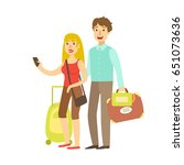 young couple with travel bags... | Shutterstock .eps vector #651073636