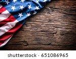 american  flag on rustic oak... | Shutterstock . vector #651086965