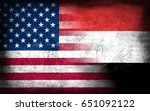 usa and yemen flag  with grunge ... | Shutterstock . vector #651092122