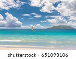 seascape with sailboat and...   Shutterstock . vector #651093106