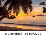 tropical island at sunset.   Shutterstock . vector #651093112