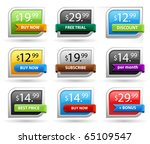 Price tags or sale tags. Easily change the color, width and height. - stock vector