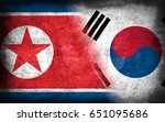 north and south korea flag ... | Shutterstock . vector #651095686