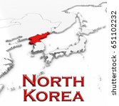 3d map of north korea with... | Shutterstock . vector #651102232