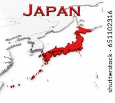 3d map of japan with country... | Shutterstock . vector #651102316