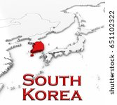 3d map of south korea with... | Shutterstock . vector #651102322