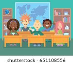 kids in classroom. school... | Shutterstock .eps vector #651108556