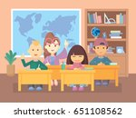 kids in classroom. school... | Shutterstock .eps vector #651108562