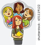 a clique of mean girls gossip... | Shutterstock .eps vector #651119122