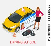 design concept driving school... | Shutterstock .eps vector #651120316