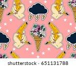 seamless summer pattern. set of ...   Shutterstock .eps vector #651131788
