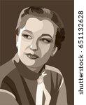 portrait of a soviet woman | Shutterstock .eps vector #651132628