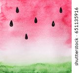 red pink and green watercolor... | Shutterstock . vector #651135916